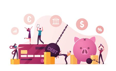 Tiny Male and Female Characters Rejoice for Money Debt Deliverance and Finance Freedom. Happy People Cutting Chains at Huge Piggy Bank and Credit Card, Slavery Finish. Cartoon Vector Illustration
