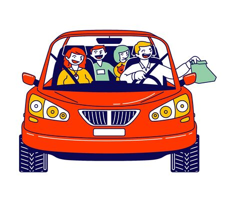 Happy Family Riding Car Using Drive Thru Service Taking Fast Food Sitting inside of Automobile. Mother, Father and Kids Characters Buying Takeaway Meal while Travel. Linear People Vector Illustration