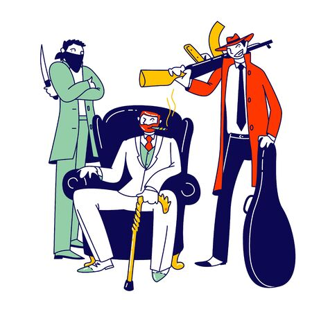 Mafia Chief Wearing Elegant Costume and Walking Cane Smoking Cigar Sitting in Leather Armchair with Henchmen Characters Holding Weapon Knife and Submachine Gun. Linear People Vector Illustration