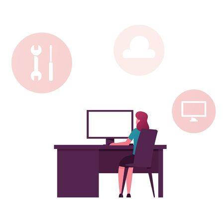 Saas, Software as a Service Internet Technology Concept. Businesswoman Character Sitting at Office Desk Working at Computer. Cloud System Network, Computing Subscription. Cartoon Vector Illustration
