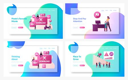 Illegal Content and Birth Rate Landing Page Template Set. Pirates Characters Sharing Files Using Torrent Servers Services, Online Media. Country Demographic Setting. Cartoon People Vector Illustration