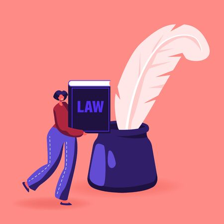 Woman Notary or Lawyer Character with Law Book or Document in Hands Stand near Huge Inkwell with Feather Pen
