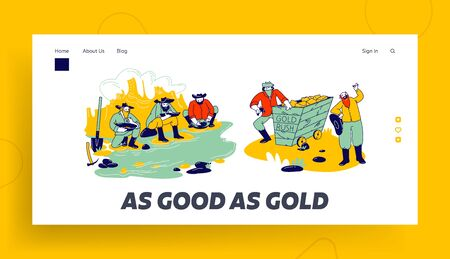 Golden Rush and Gold-washing Landing Page Template. Prospector Characters Panning for Nuggets in Stream