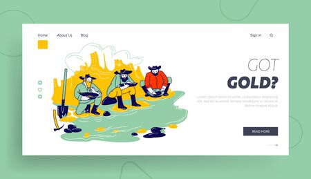 Gold Rush Landing Page Template. Group of American Wild West Prospectors Male Characters Panning Golden Sand and Prills Sitting on River Side with Pickaxe and Spade. Linear People Vector Illustration