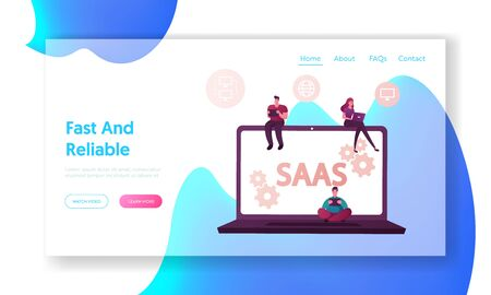 Saas, Software as a Service Landing Page Template. Cloud Software, Mobile Devices, Codes. App Server and Database. Male Female Characters with Computers and Gadgets. Cartoon People Vector Illustration