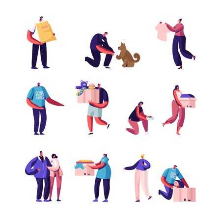 Set of Donation and Charity Organization, Male and Female Characters Collecting Clothes and Things for Poor People, Help Homeless Animals. Humanitarian Aid, Altruism. Cartoon Vector Illustration