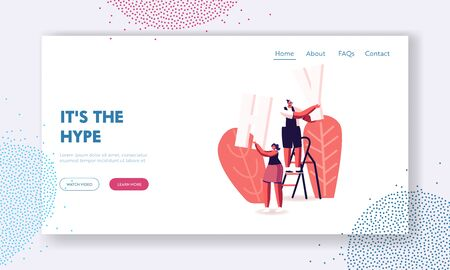 Viral Internet Content, Fake Information and Ideas Propaganda Landing Page Template. Characters Stand on Ladder with Huge Letters H and Y Parts of Word Hype. Cartoon People Vector Illustration