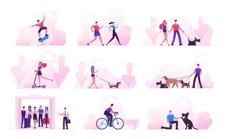 Set of Male and Female Characters Spend Time during Covid19 Pandemic. People in Medical Masks Violate Quarantine Self Isolation Walking with Pets, Riding Bike and Scooters. Cartoon Vector Illustration