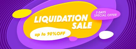 Liquidation Sale Social Media Promo Ad Poster, Banner with Typography. Background with Abstract Waves. Branding Template Design for Shopping Discount, Backdrop Content Decoration. Vector Illustration