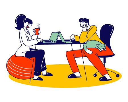 Remote Freelance Work, Self-employment Concept. Man and Woman Freelancers Sitting at Home Working Distant on Laptop. Creative Self-employed Characters Work Isolation. Linear People Vector Illustration