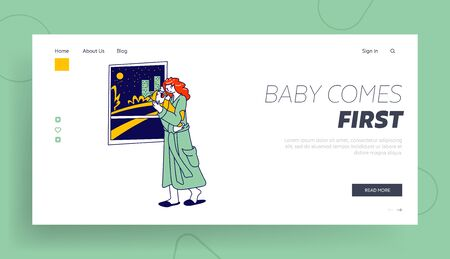 Maternity, Mother Care Landing Page Template. Tired Woman Character with Sleepy Face Holding Newborn Baby on Hands Rock to Sleep Crying Child with Cramps. Linear People. Linear Vector Illustration