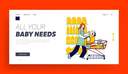 Naughty, Hyperactive Baby Character Landing Page Template. Hysterical Child Crying Loudly while Manipulating Mother Sitting in Shopping Trolley in Supermarket. Linear People Vector Illustration