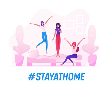 People Fooling and Having Fun, Teenage Girls Characters in Medical Masks Jumping and Fooling on Sofa in Room. Home Party, Leisure, Relax during Quarantine Covid 19. Cartoon Vector People Illustration