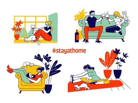 Set Young Woman and her Cat Characters at Covid 19 Quarantine Home Isolation. Girl Spend Time Alone and Dating with Boyfriend, Reading Book, Doing Sport, Relaxing. Linear People Vector Illustration