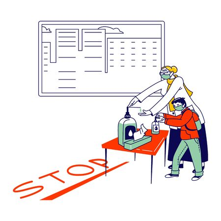 People Visiting Pharmacy or Store during Coronavirus Pandemic. Woman with Little Boy Characters Covering Hands with Antibacterial Gel front of Stop Line, Protective Measure. Linear Vector Illustration