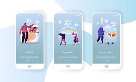 Frozen Food Mobile App Page Onboard Screen Template. Tiny People Characters Buying and Cooking Natural Iced Products Vegetables, Fruits Meat and Fish, Conservation Concept. Cartoon Vector Illustration