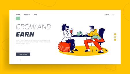 Remote Freelance Work, Self-employment Landing Page Template. Freelancers Sitting at Home Working Distant on Laptop. Creative Self-employed Characters Work Isolation. Linear People Vector Illustration
