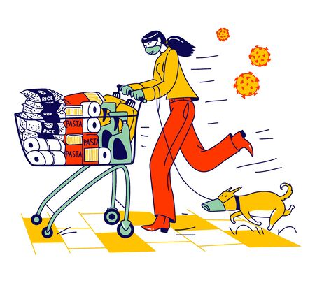 Woman and Dog in Protective Facial Masks Pushing Shopping Cart Full of Different Goods for Doomsday. Panic in Supermarket, Pandemic Chaos, Character Prepare for Apocalypse. Linear Vector Illustration