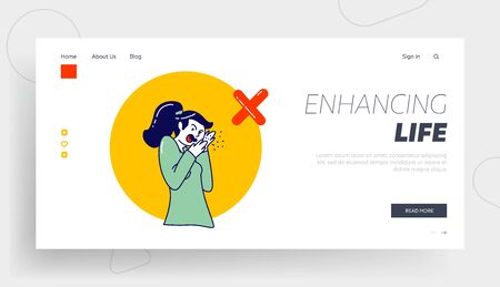Sick Woman Character Coughing Wrong Way Spraying Saliva Landing Page Template Coronavirus or Flu Symptoms, Prevention, Medical Recommendation How to Sneeze Properly. Linear Vector Illustration Illustration