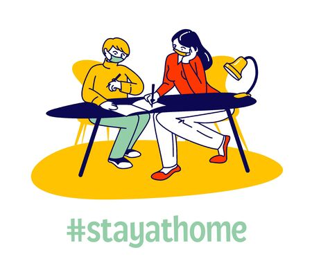 Homeschooling during Covid 19 Quarantine. Woman and Schoolboy Sitting at Desk, Teacher Female Character or Mother Explain Lesson, Help Making Homework for School. Linear People Vector Illustration Vecteurs