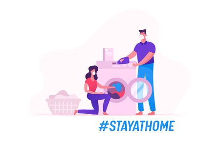 Couple Characters in Medical Masks Household Activity during Covid19 Quarantine Self Isolation. Woman Loading Dirty Linen to Washing Machine, Man Pouring Detergent. Cartoon Vector People Illustration