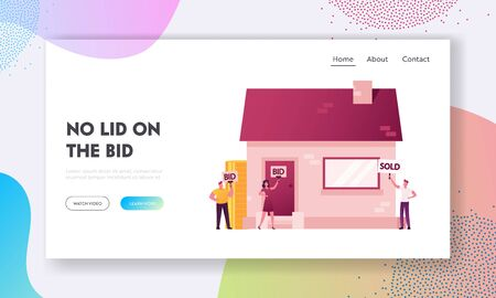 Buyers Bidding House with Rising Up Bid Boards.Landing Page Template. Auctioneer Character Judging Auction of Real Estate Attached to Mortgage and Confiscated. Cartoon People Vector Illustration Illustration