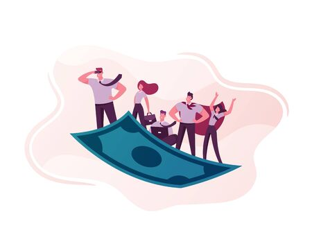 Business People Team Travel on Flying Money Carpet. Businessman in Superhero Cloak, Manager Working on Laptop. Financial Success, Teamwork Direction, Goal Achievement. Cartoon Vector Illustration Stock Illustratie