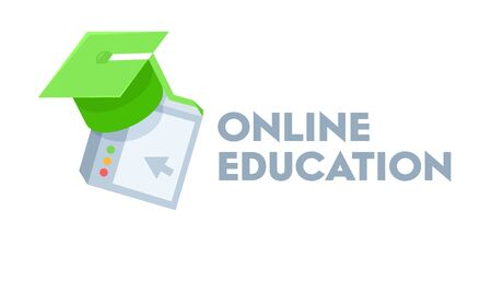 Online Education Banner with Green Academic Cap. Remote University Graduation, Home Educational Materials. Distance Learning, Recorded Classes, Video Tutorial. Cartoon Vector Illustration, Icon Banco de Imagens - 144563186