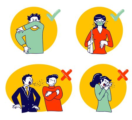 Wrong and Correct Ways for Sneezing. Male and Female Characters Using Cubit to Sneeze, and Wearing Facial Medical Masks to Protect People around from Virus Infection. Linear Vector Illustration Vektorgrafik