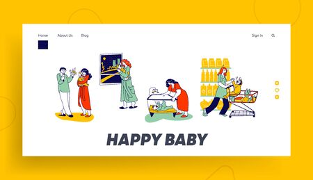 Mother and Father Characters Calm Down Crying Newborn Baby Landing Page Template. Baby Cramps Pain, Mom with Child in Supermarket Shopping Trolley, Kid in Playpen. Linear Vector People Illustration Ilustração