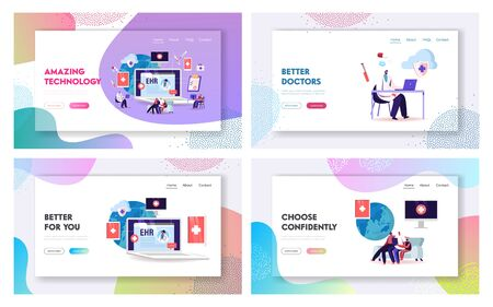 EHR, Electronic Health Record Landing Page Template Set. Patient Characters Insert Medical Data. Doctor Use Digital Smart Device to Read Report Online. Cartoon People Vector Vector Illustration Vettoriali