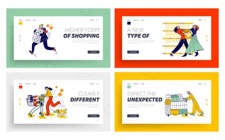 People Fighting for Food due Covid-19 Outbreak Landing Page Template Set. Doomsday Panic and Coronavirus Pandemic Chaos. Characters Crazily Buying Goods in Supermarket. Linear Vector Illustration
