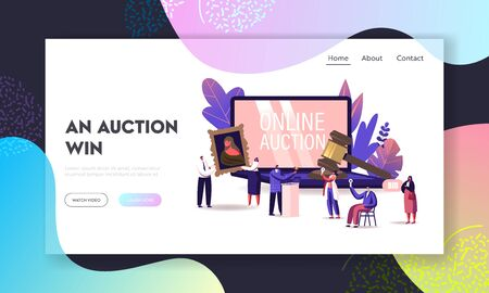 Online Auction Landing Page Template. Auctioneer, People Collectors Buying Assets in Internet. Tiny Characters at Huge Laptop and Gavel Holding and Rising Bid Boards. Cartoon Vector Illustration