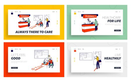 People Visiting Pharmacy during Coronavirus Pandemic Landing Page Template Set . Characters Cover Hands with Antibacterial Gel, Buying Medicine at Cashier, Global Epidemic. Linear Vector Illustration