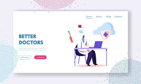 EHR, Electronic Health Record Landing Page Template. Doctor Character Using Digital Modern Technology in Hospital Smart Device to Read Health Information in Tablet Online. Cartoon Vector Illustration