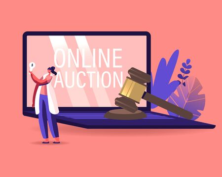 Woman Buying Assets in Internet Using Online Platform. Female Character Holding Bid Plate in Hand Stand at Huge Laptop with Online Auction Inscription on Screen, Business. Cartoon Vector Illustration Vektorgrafik