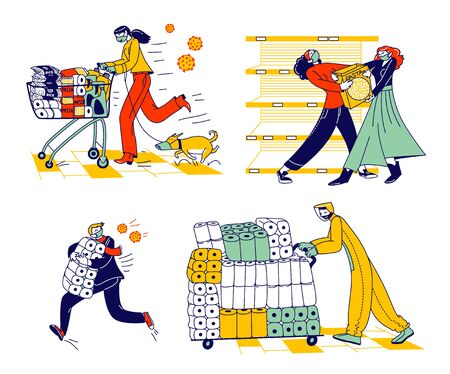 Doomsday Panic and Coronavirus Pandemic Chaos. Characters Crazily Buying Goods and Toilet Paper from Supermarket Shelves, Fighting for Food due Covid-19 Outbreak. Linear People Vector Illustration