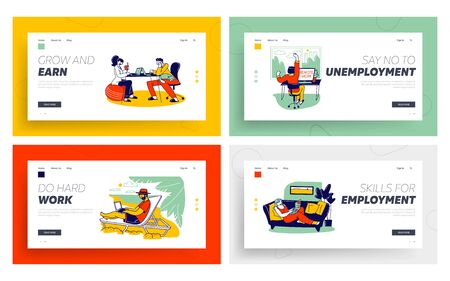 Freelance Self-employed Occupation Landing Page Template Set. Relaxed Freelancers Characters Work Distant on Laptop and Pc from Home, Resort Beach, Remote Workplace. Linear Vector People Illustration
