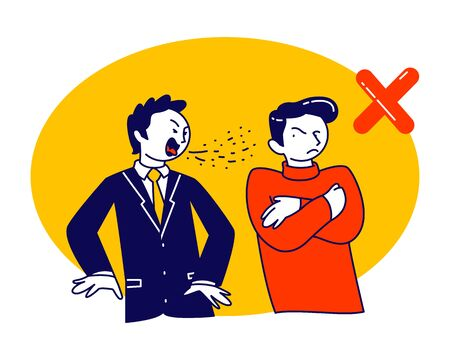 Sick Man Coughing on other Person Stand beside. 2019-nCov, Flu Sickness. Diseased Male Character Got Virus Infection, Cold or Covid-19 Illness, Coronavirus Symptom. Linear People Vector Illustration