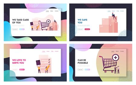 Procurement Landing Page Template Set. Process of Purchasing Goods or Services with Tiny Business Characters with Huge Shopping Trolley, Calculator and Pen Deal. Cartoon People Vector Illustration