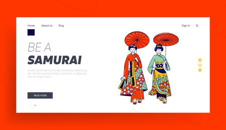 Geisha Women Landing Page Template. Female Characters in Traditional Japanese Dresses, Hairstyle, Makeup and Umbrella Walking Together, Asian Kimono Fashion. Linear People Vector Illustration