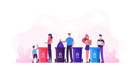 Family with Kids Characters in Medical Masks Collect Litter to Recycle Bins, People Recycling Garbage to Reduce Environment Pollution during Covid19 Pandemic Quarantine. Cartoon Vector Illustration