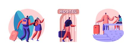 Set of Diverse Young People Arriving in Hostel. Male and Female Tourist Characters Move into Motel for Staying at Night, Cheap Accommodation for Students or Travelers. Cartoon Vector Illustration