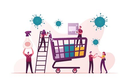 Tiny Characters around of Huge Shopping Trolley Cleaning Shop Equipment during Coronavirus Pandemic. Customer Spraying Antibacterial Gel on Hands Visiting Store. Cartoon People Vector Illustration Vettoriali