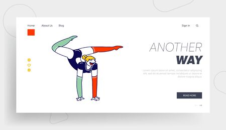 Girl Acrobat Perform Stunt on Circus Stage or Competition. Landing Page Template. Female Gymnast Character Stand on Hands during Acrobatics Show Performance or Training. .Linear Vector Illustration 矢量图像