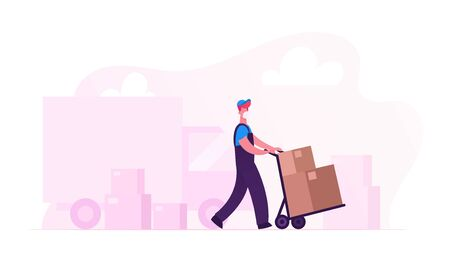 Relocation and Moving into New House. Worker Character in Medical Mask Push Trolley with Cardboard Box Unloading Truck. Delivery Company Loader Service at Covid19 Pandemic. Cartoon Vector Illustration
