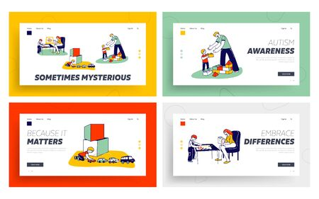 Autism Landing Page Template Set. Little Children Characters with Mental Disorder Exercising with Tutor or Teacher. Boy Building Tower of Blocks, Playing with Cars. Linear People Vector Illustration Vector Illustration