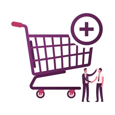 Male Characters Shaking Hands at Huge Shopping Trolley Isolated on White Background. Procurement, Goods Purchase and Successful Deal between Seller and Buyer. Cartoon People Vector Illustration