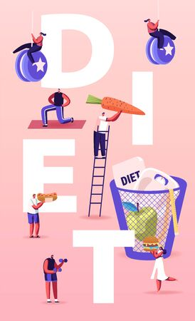 Diet Concept. Tiny Characters Enjoying Unhealthy Junk Food. People Healthy Lifestyle, Eating Fast Food. Man Throw Weights and Carrot into Litter Bin Poster Banner Flyer. Cartoon Vector Illustration