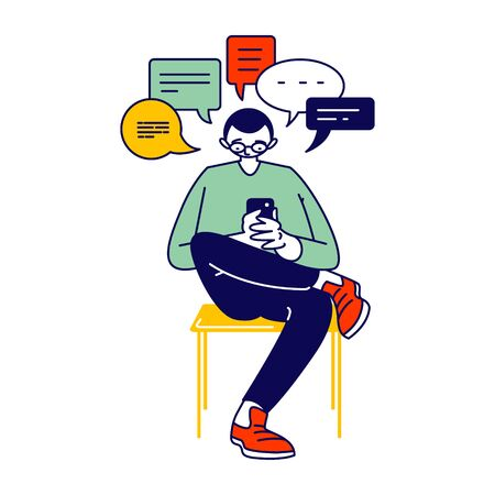 Young Man or Teenager Character Looking on Screen of Smartphone Writing Messages on Mobile Phone in Internet. Gadget Addiction, Bad Habits, Cellphone Communication Concept. Linear Vector Illustration